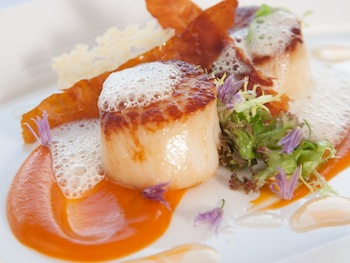 Locally sourced Scottish Scallops served at the Airds Hotel restaurant on the West Coast of Scotland