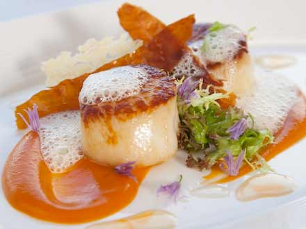 Locally sourced scallops, in season, fine dining