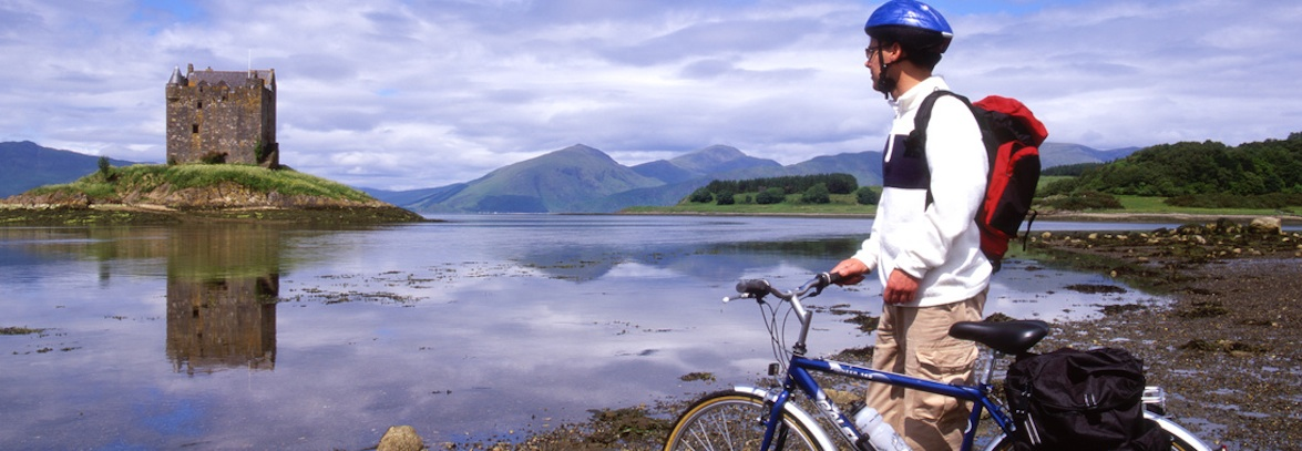 Bicyle in front of Castle Stalker, West Coast of Scotland