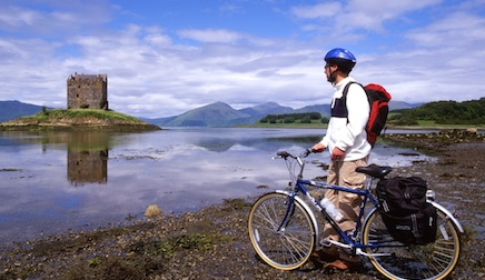 Bicycle in front of Castle Stalker, West Coast of Scotland