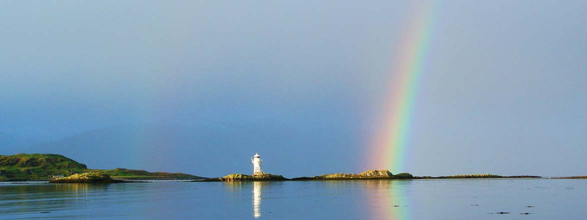 Rainbow over Lighthouse in Port Appin
