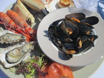 Locally sourced seafood served at the Airds Hotel restaurant on the West Coast of Scotland