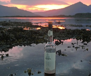 Bottle of Oban Whisky on West Coast of Scotland